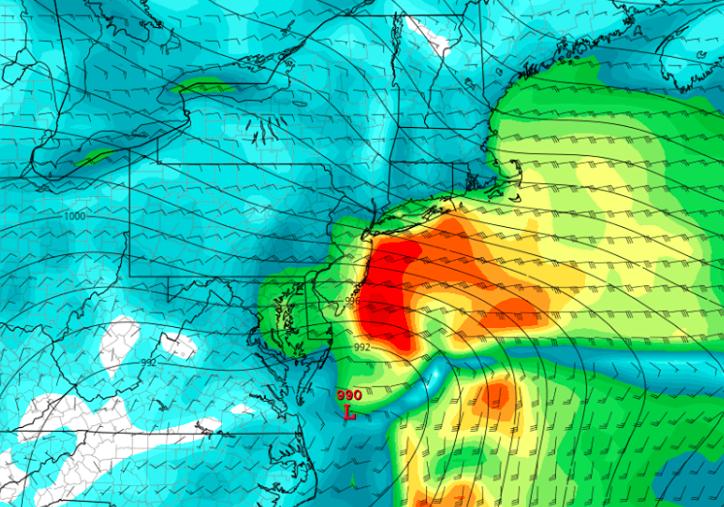 A forecast model showing a coastal storm Jan. 22-23, 2017. (Credit: NWS)