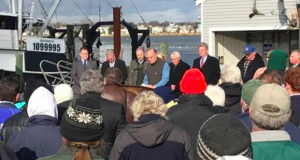 NJDEP Commissioner Bob Martin addresses the crowd assembled at a rally against proposed fluke regulations, Jan. 27, 2017. (File Photo)
