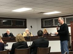 "A member of the public questions the applicant behind a ""nano brewery"" proposed in Seaside Park. (Photo: Daniel Nee)"