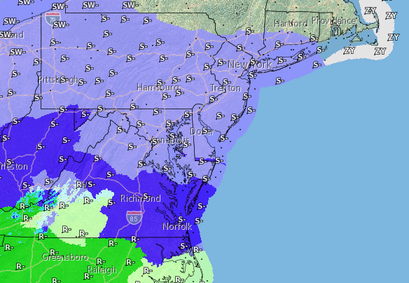 Snow potential for Saturday night into Sunday. (Credit: NWS)