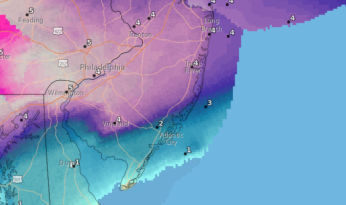 Snow totals by Tuesday morning. (Credit: NWS)