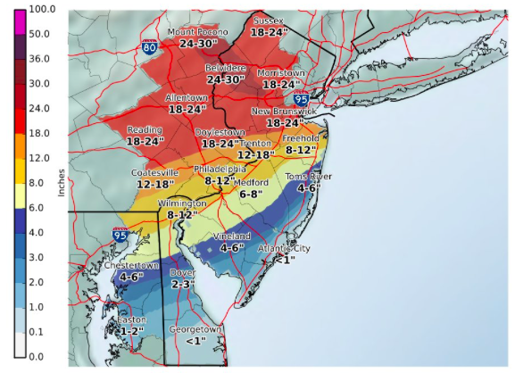 Snow total forecast for the March 14, 2017 nor'easter. (Credit: NWS)