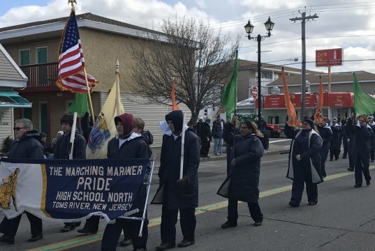 A local high school band marches during 2017 Seaside Heights St. Patrick's Day Parade. (Photo: Daniel Nee)