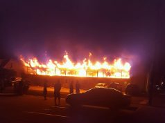 A fire rips through a Lavallette apartment building. (Photo: Kevin Barron)