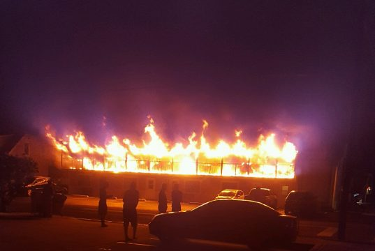 A fire rips through a Lavallette apartment building. (Photo: Kevin Barron)