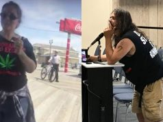 "Edward ""Lefty"" Grimes addresses the Seaside Heights council (right). His friend was smoking medical marijuana on the boardwalk last weekend (left). (Grimes Photo: Daniel Nee)"