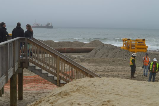 Progress on the third day of a beach replenishment project in Ortley Beach, N.J., May 31, 2017. (Photo: Daniel Nee)