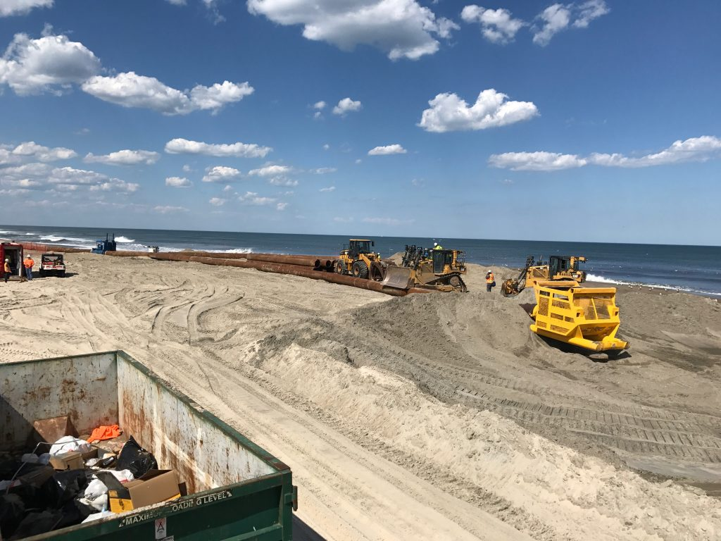 Progress on beach replenishment in Ortley Beach, three days after pumping began, June 1, 2017. (Photo: Daniel Nee)