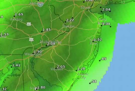 Rainfall totals expected Monday. (Credit: NWS)
