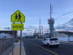 A sign warns of a crosswalk ahead on Route 35 south in Lavallette. (Photo: Daniel Nee)