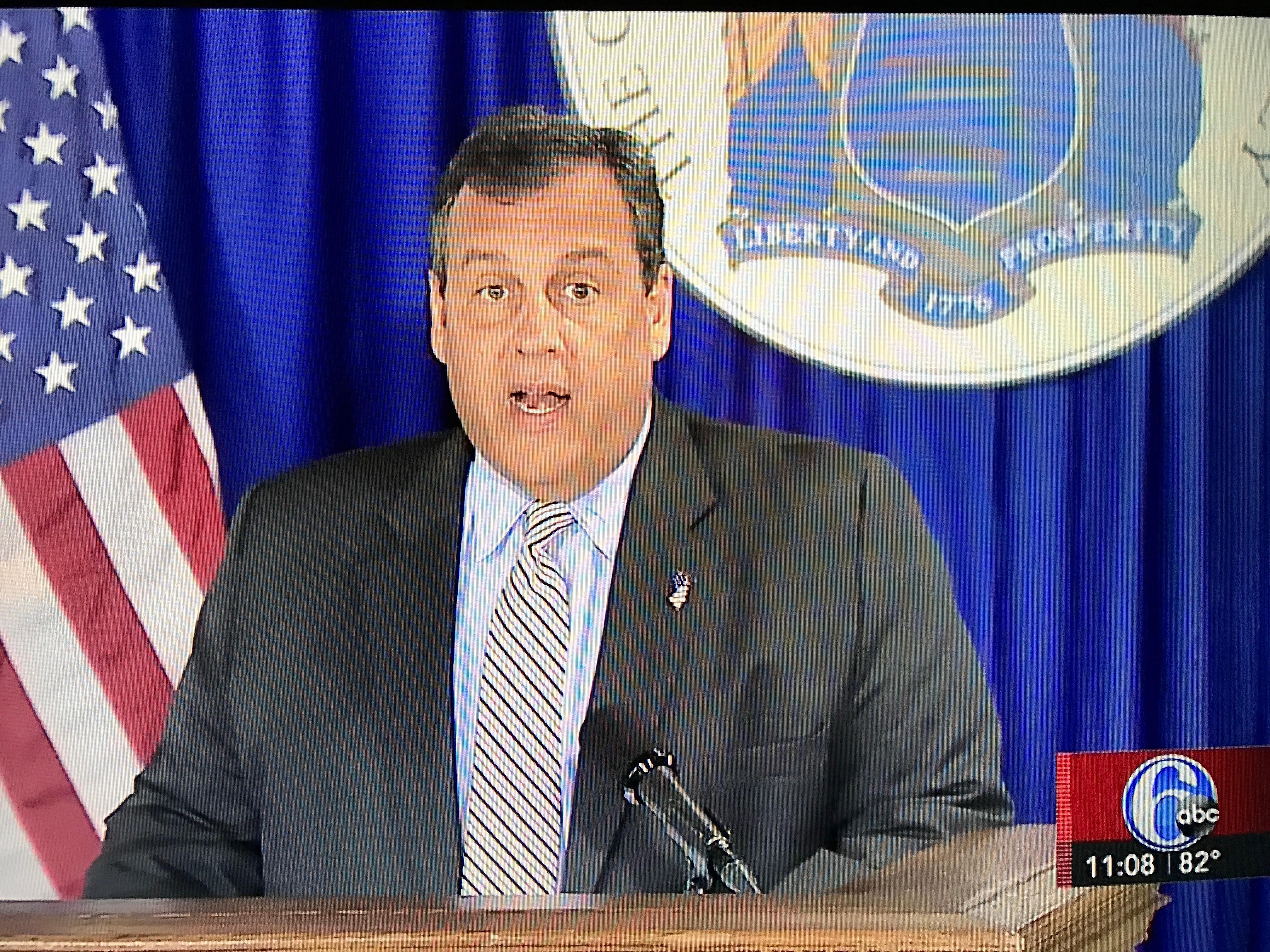 Gov. Chris Christie announces a budget deal, July 3, 2017. (Screenshot: WPVI-TV)