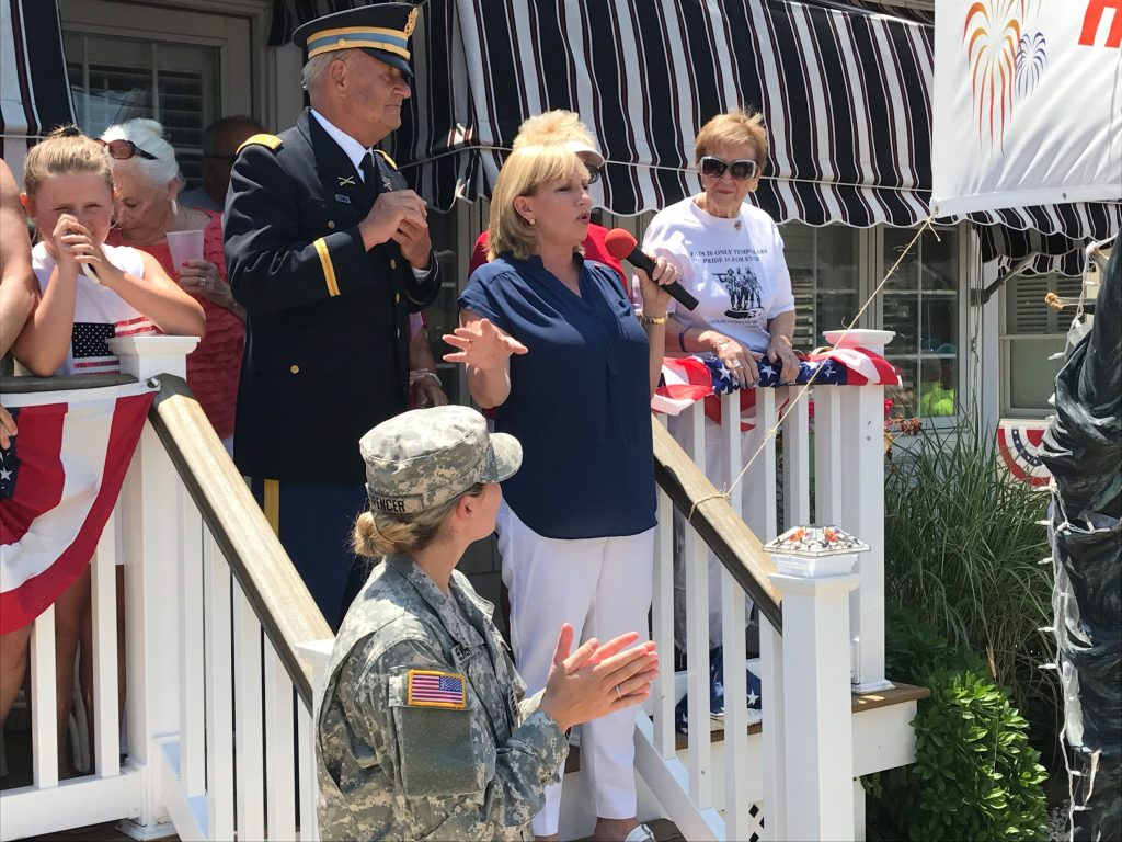 Lt. Gov. Kim Guadagno at a flag raising ceremony in Normandy Beach, N.J., July 4, 2017. (Photo: Daniel Nee)