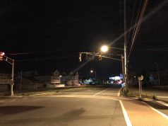 Blinking traffic lights along Route 35 in Ortley Beach Monday night. (Photo: Daniel Nee)