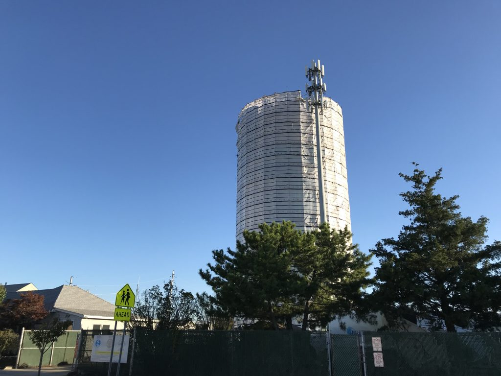 The Lavallette water tower during the 2017 repainting project, Oct. 2017. (Photo: Daniel Nee)