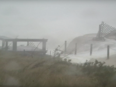 Dunes breach in Normandy Beach during Superstorm Sandy, Oct. 29, 2012. (Screenshot: YouTube/bartski31)