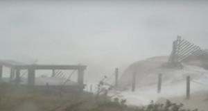 Dunes breach in Normandy Beach during Superstorm Sandy, Oct. 29, 2012. (Screenshot: YouTube/bartski31)