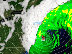 Modeling of a coastal storm expected to strike New Jersey Jan. 4, 2017. (Credit: NWS)