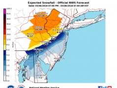 A snowfall forecast issued 12am, March 7, 2018. (Credit: NWS)