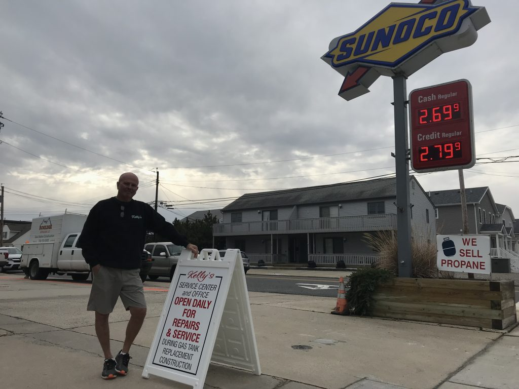 Paul Kelly in front of Kelly's Sea-Bay Sunoco station. (Photo: Daniel Nee)
