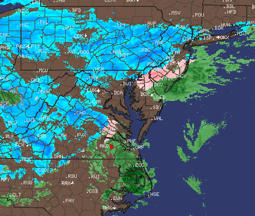 The weather radar early Wednesday morning, March 21, 2018. (Credit: NWS)