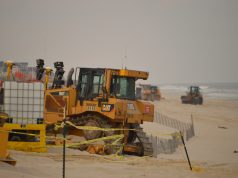 Crews ready a beach replenishment project in Brick, N.J., April 10, 2018. (Photo: Daniel Nee)