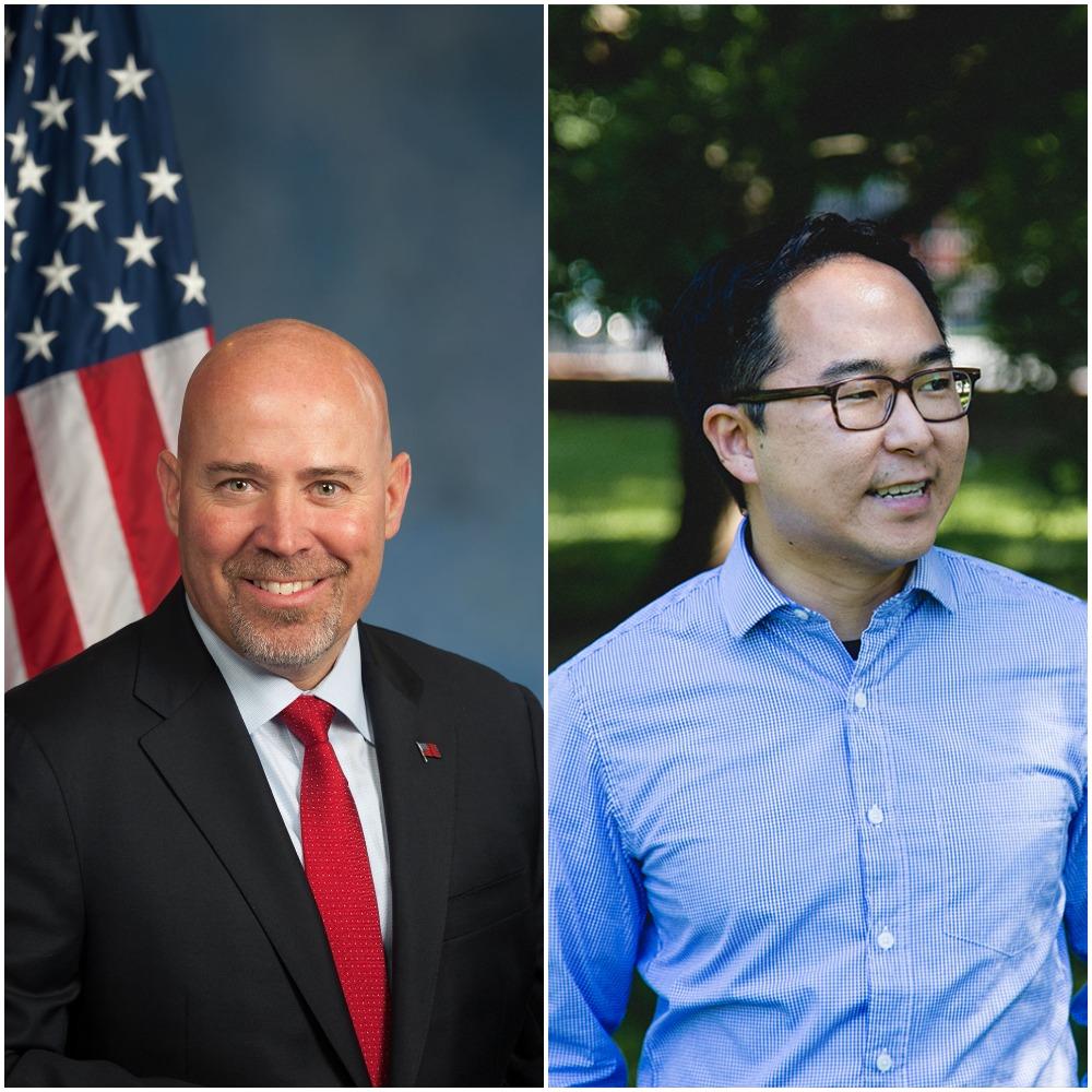 U.S. Rep. Tom MacArthur and challenger Andy Kim. (File Photos)