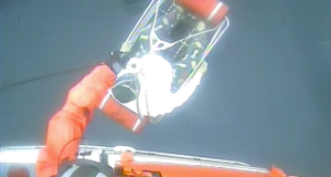 The Coast Guard medevaced a 51-year-old man approximately 65 miles of Atlantic City, New Jersey, Sunday. The man was reported to be experiencing difficulty breathing. (US Coast Guard video)