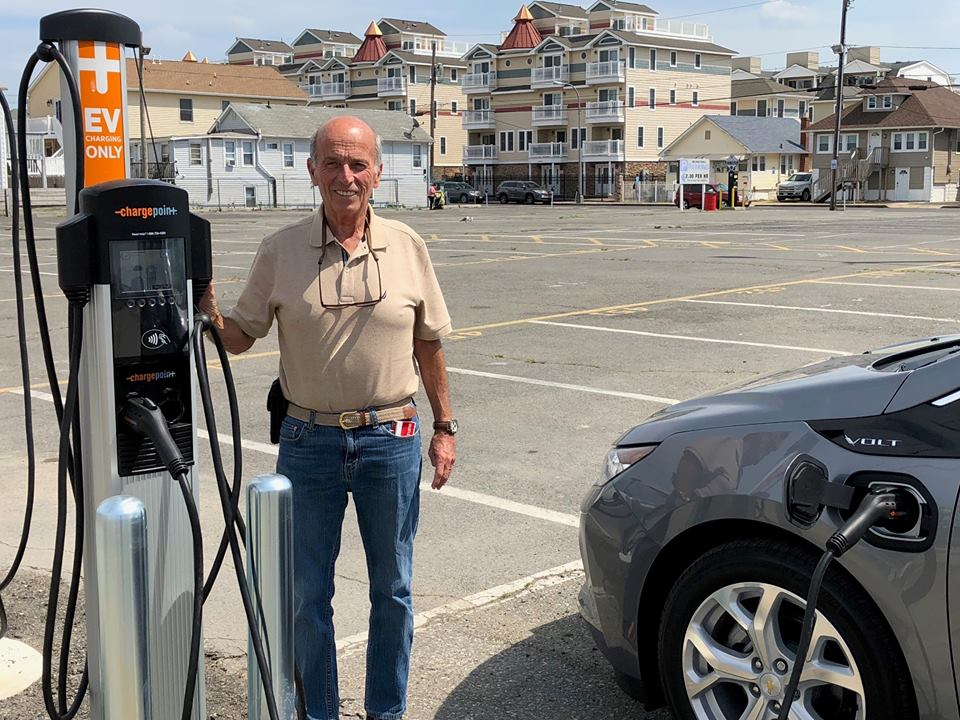 Mayor Anthony Vaz next to an EV charging station in Seaside Heights. (File Photo)