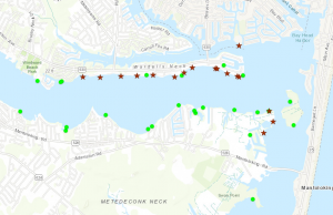 Locations clinging jellyfish have been in northern Ocean County during June 2018 surveys. (Credit: NJDEP/ Montclair State University)