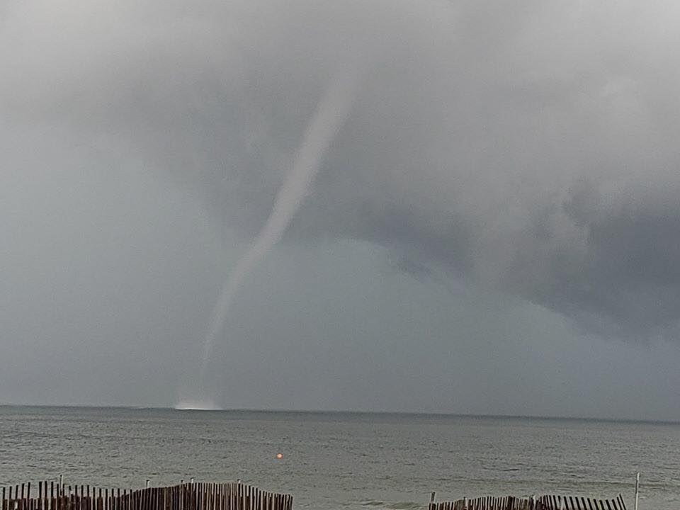 Waterspout over ocean in Silver Beach. Photo courtesy of Grace Kelly.