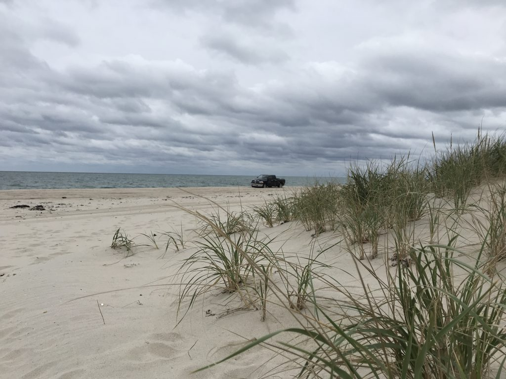 A cloudy beachfront in Lavallette, Oct. 26, 2018, as a nor'easter approaches. (Photo: Daniel Nee)