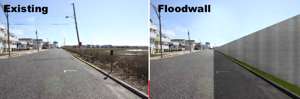 A rendering of flood walls at Manasquan Inlet, N.J. (Credit: USACE)