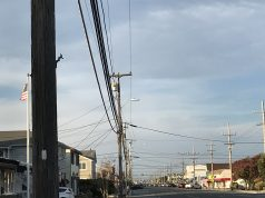 Utility poles along Grand Central Avenue in Lavallette. (Photo: Daniel Nee)