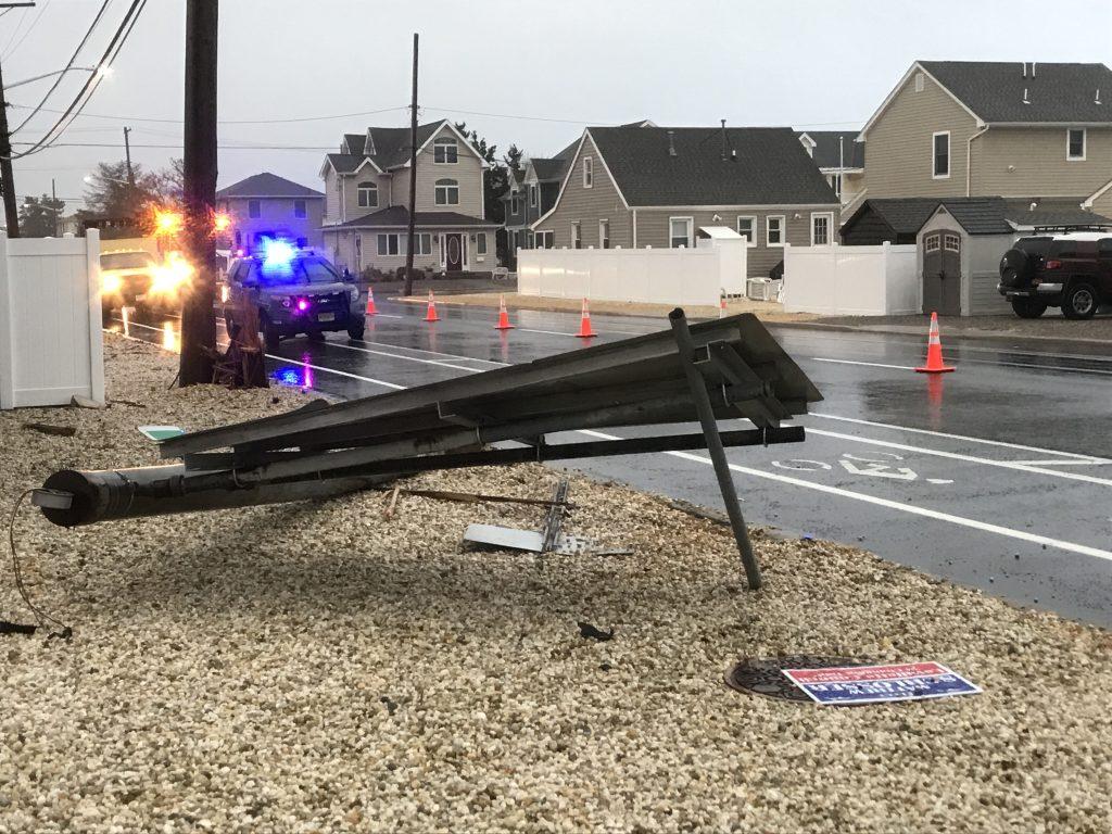 A sign that had fallen on Route 35 in Lavallette, Nov. 26, 2018. (Photo: Daniel Nee)