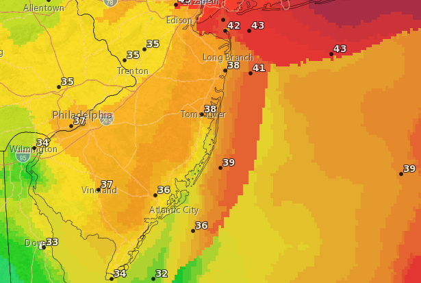 Wind gust forecast for Nov. 3, 2018 from the National Weather Service. (Credit: NWS)