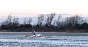 The Miss Kathleen fishing boat sunk inside Manasquan Inlet. (Photo: Daniel Nee)