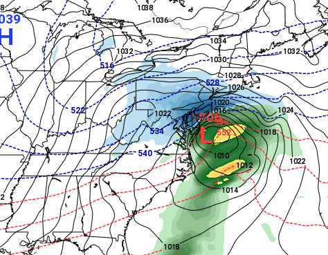 The GFS forecast model for Sunday, Jan. 13, 2019. (Credit: NOAA)