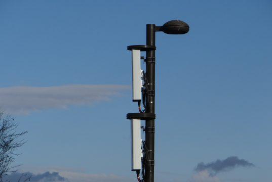 A pole-mounted 5G node. (Photo: Sports Video Group)