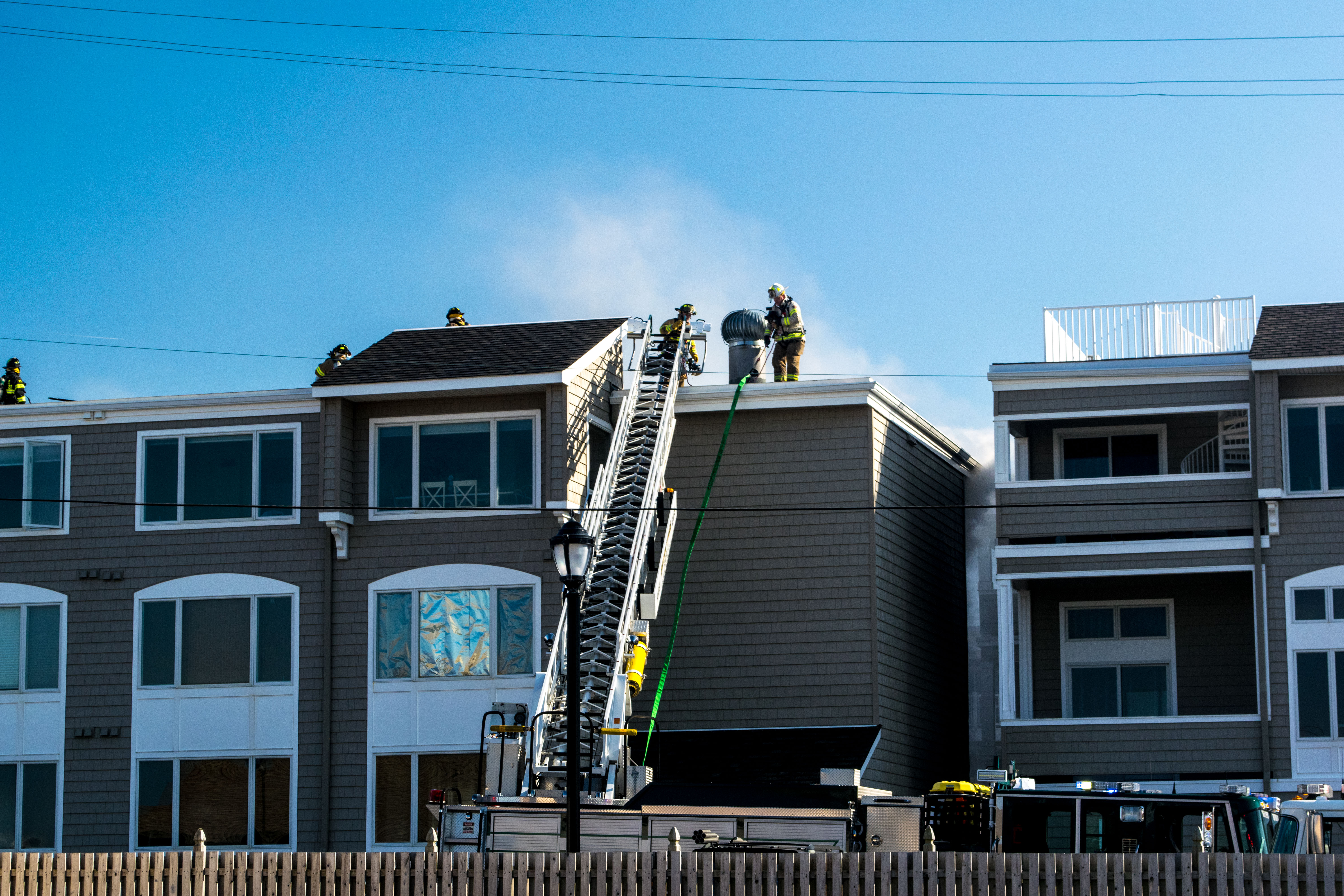 Firefighters respond to a four-alarm blaze at the Ocean Club condominium on Route 35 in Brick. (Photo: Daniel Nee)