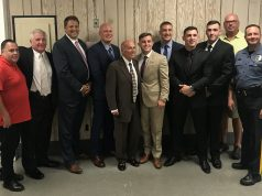 Prosecutor Bradley Billhimer, Mayor Anthony Vaz, Chief Thomas Boyd and new officers sworn in, Sept. 2019. (Photo: Daniel Nee)