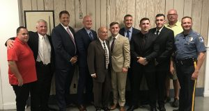 Prosecutor Bradley Billhimer, Mayor Anthony Vaz, Chief Thomas Boyd and new officers sworn in, Sept. 2019. (Photo: Daniel Nee)