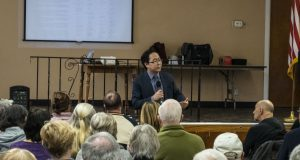 U.S. Rep. Andy Kim addresses a town hall meeting in Ocean Gate, N.J., Jan. 22, 2020. (Photo: Daniel Nee)