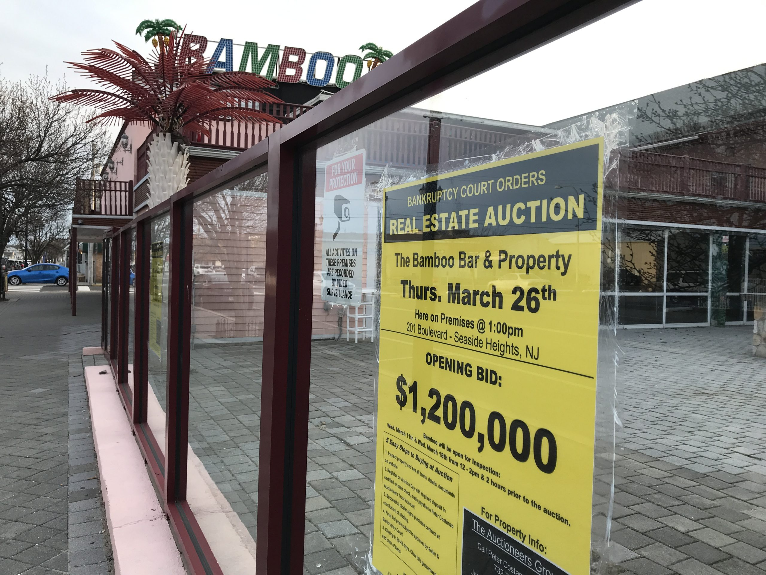 A sign advertising a bankruptcy auction at Bamboo in Seaside Heights, March 2019. (Photo: Daniel Nee)