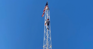 A man climbs to the top of the Skyscraper ride in Seaside Heights, June 22, 2020. (Supplied Photo)