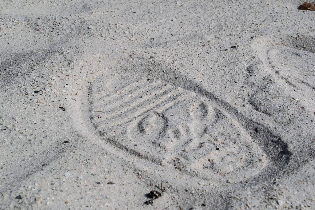 The Shore Shoe, and its imprints, on the beach. (Photo: Daniel Nee)