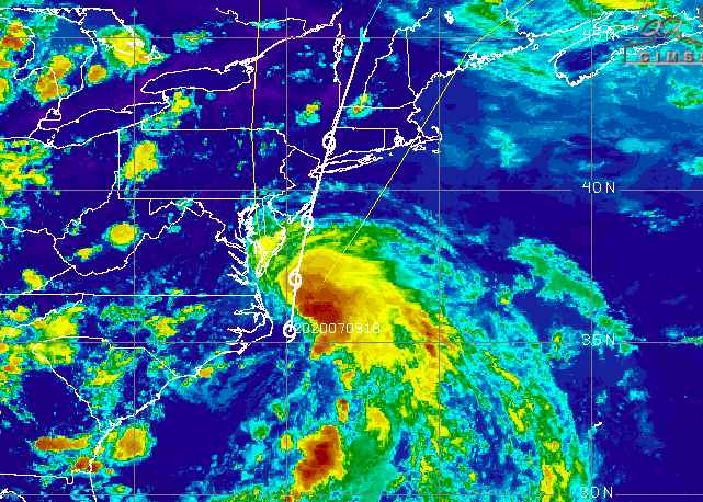 Tropical Storm Fay, July 9, 2020. (Credit: University of Wisconsin-Madison)