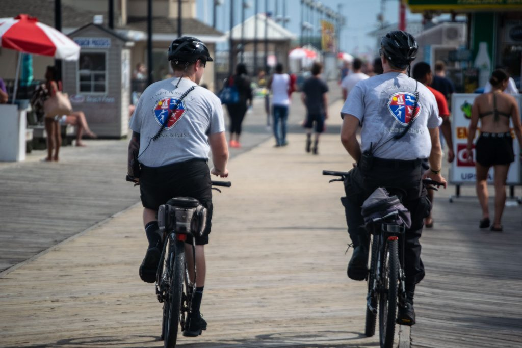 Seaside Heights Code Enforcement officers ride along the boardwalk, July 2020. (Photo: Daniel Nee)