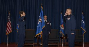 U.S. Air Force Maj. Gen. Mark Camerer assumed command of the U.S. Air Force Expeditionary Center during a change of command ceremony Sept. 23, 2020, at the USAF Expeditionary Center on Joint Base McGuire-Dix-Lakehurst, New Jersey. U.S. Air Force Gen. Jaqueline Van Ovost, Air Mobility Command commander, presided over the ceremony where U.S. Air Force Maj. Gen. John Gordy relinquished command of the USAF Expeditionary Center to Camerer. (U.S. Air Force photo by Master Sgt. Ashley Hyatt)