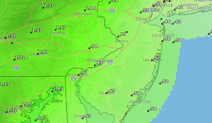 Rainfall expected by Christmas Eve night, 2020. (Credit: NWS)