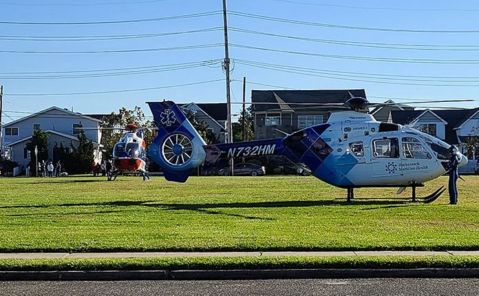 The Hacksensack-Meridian medevac helicopter lands in Seaside Park. (Credit: Ocean County Scanner News / Facebook)